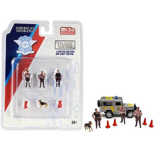 """""""Police"""" 8 piece Diecast Set (3 Figurines and 1 Dog and 4 Accessories) for 1/64 Scale Models by American Diorama"""