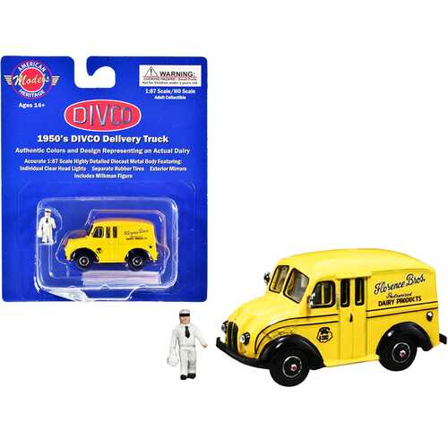 "1950's Divco Delivery Truck Yellow ""Florence Bros. Dairy Products"" with Milkman Figurine and Carrier 1/87 (HO) Scale Diecast Model by American Heritage Models"