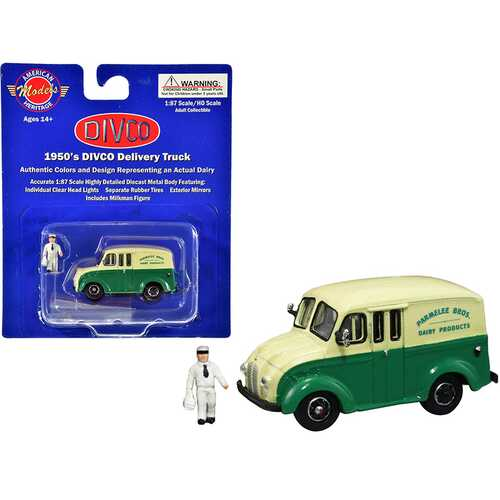 "1950's Divco Delivery Truck Green and Yellow ""Parmelee Bros. Dairy Products"" with Milkman Figurine and Carrier 1/87 (HO) Scale Diecast Model by American Heritage Models"