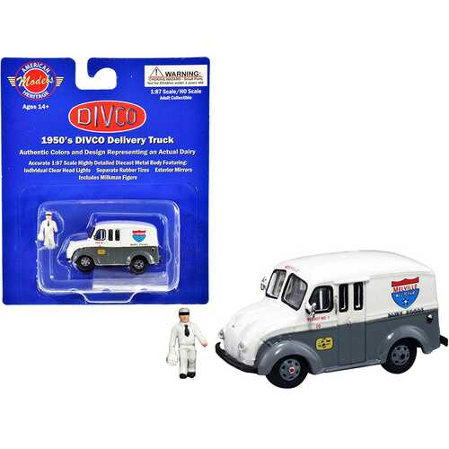 "1950's Divco Delivery Truck Gray and White ""Melville Dairy Foods"" with Milkman Figurine and Carrier 1/87 (HO) Scale Diecast Model by American Heritage Models"