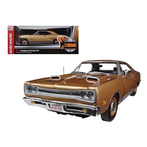 1969 Dodge Coronet R/T Light Bronze Poly HEMI 50th Anniversary Limited to 1250pc1/18 Diecast Model Car by Autoworld