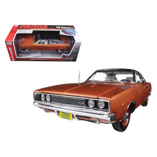"""1968 Dodge Charger R/T Bronze Poly with Black Vinyl Top """"Hemmings Muscle Magazine"""" Limited Edition to 1002pc 1/18 Diecast Model Car by Autoworld"""