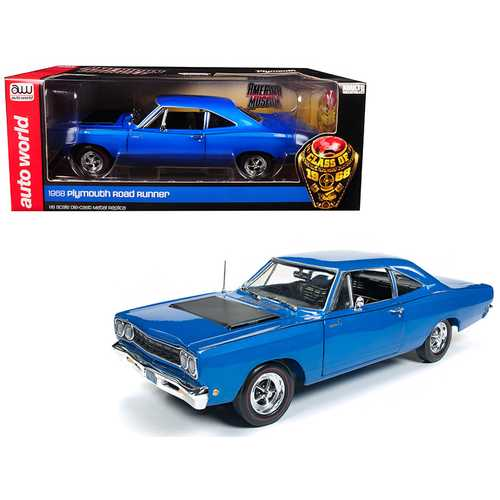 """1968 Plymouth Road Runner Electric Blue """"Looney Tunes"""" Class of '68 Limited Edition to 1002 pieces Worldwide 1/18 Diecast Model Car by Autoworld"""