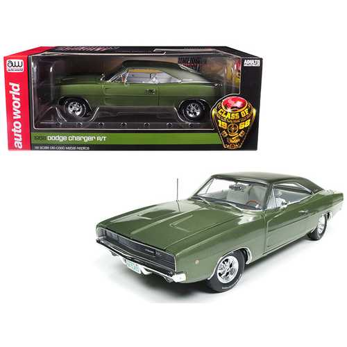 "1968 Dodge Charger R/T Medium Green Metallic ""Class of 68"" 50th Anniversary Limited Edition to 1002 pieces Worldwide 1/18 Diecast Model Car by Autoworld"