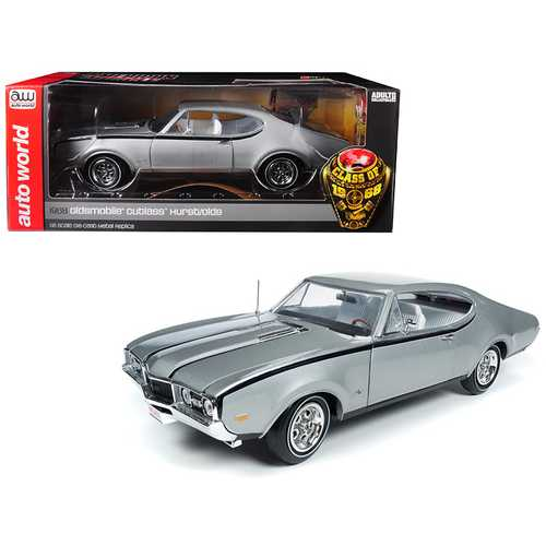 """1968 Oldsmobile Cutlass Hurst/Olds Silver """"Class of 68"""" 50th Anniversary Limited Edition to 1002 pieces Worldwide 1/18 Diecast Model Car by Autoworld"""