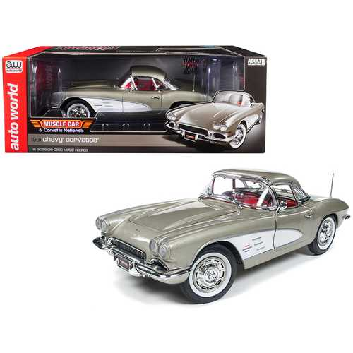 """1961 Chevrolet Corvette Hard Top Fawn Beige """"Muscle Car & Corvette Nationals"""" (MCACN) Limited Edition to 1002 pieces Worldwide 1/18 Diecast Model Car by Autoworld"""