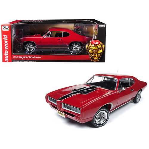 "1968 Pontiac Royal Bobcat GTO ""Class of '68"" 50th Anniversary Code R Solar Red Limited Edition to 1,002 pieces Worldwide 1/18 Diecast Model Car by Autoworld"