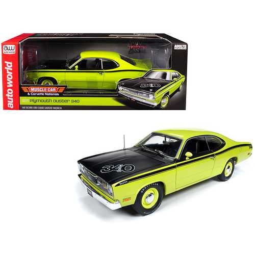 "1971 Plymouth Duster 340 Hardtop Green with Black Hood ""Muscle Car & Corvette Nationals"" (MCACN) Limited Edition to 1,002 pieces Worldwide 1/18 Diecast Model Car by Autoworld"