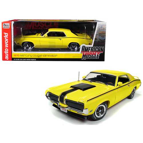 "1970 Mercury Cougar Eliminator Competition Yellow with Black Stripes ""Hemmings Muscle Machines"" Magazine (October 2004) Cover Car Limited Edition to 1002 pieces Worldwide 1/18 Diecast Model"