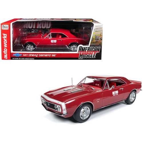 "1967 Chevrolet Camaro SS ""Hot Rod"" Test Car Red with White Nose Stripe ""Hot Rod"" Magazine Limited Edition to 1,002 pieces Worldwide 1/18 Diecast Model Car by Autoworld"