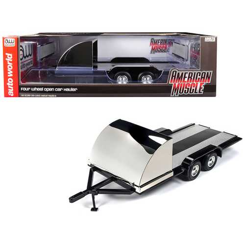 Four Wheel Open Car Hauler Trailer Black for 1/18 Scale Models by Autoworld