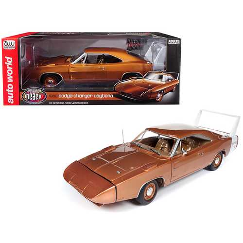 "1969 Dodge Charger Daytona Metallic Bronze ""MCACN"" 10th Anniversary Limited Edition to 1,002 pieces Worldwide 1/18 Diecast Model Car by Autoworld"