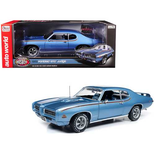 "1969 Pontiac GTO Judge Warwick Blue ""MCACN"" 10th Anniversary Limited Edition to 1,002 pieces Worldwide 1/18 Diecast Model Car by Autoworld"