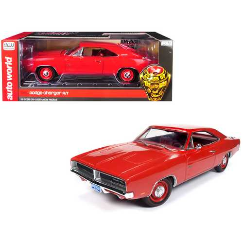 """1969 Dodge Charger R/T Charger Red with Red Interior """"Class of 1969"""" Limited Edition to 1,002 pieces Worldwide 1/18 Diecast Model Car by Autoworld"""