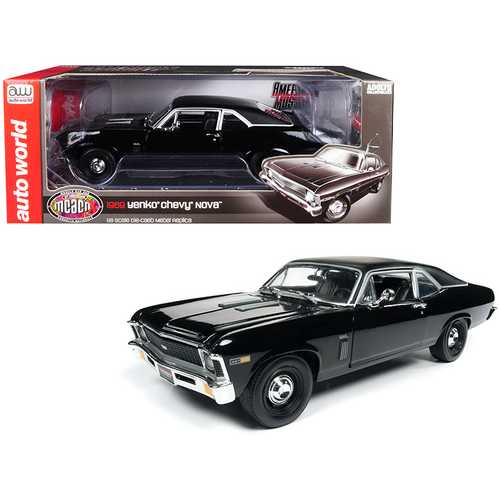 """1969 Chevrolet Yenko Nova SS Gloss Black with Matt Black Top """"MCACN"""" 10th Anniversary (Muscle Car & Corvette Nationals) Limited Edition to 1,002 pieces Worldwide 1/18 Diecast Model Car by Autoworld"""