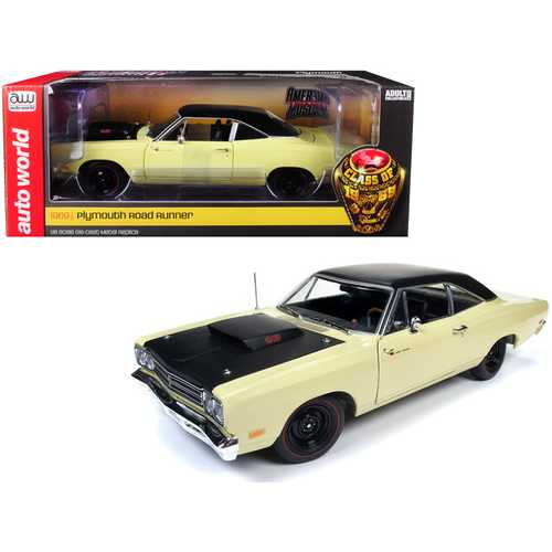 "1969/5 Plymouth Road Runner Coupe Sunfire Yellow with Black Top and Hood ""Looney Tunes"" ""Class of 1969"" Limited Edition to 1002 pieces Worldwide 1/18 Diecast Model Car by Autoworld"