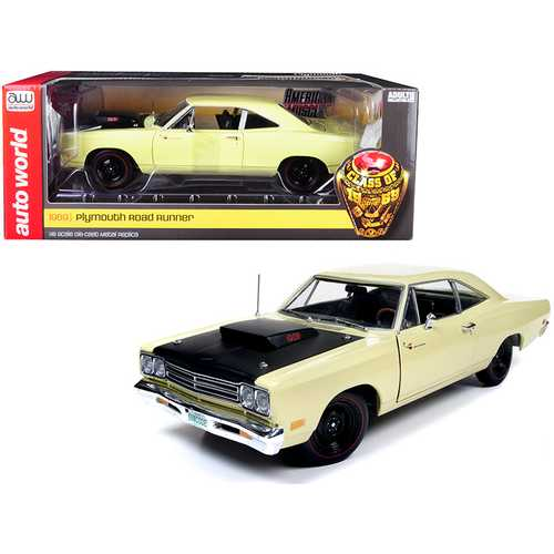 "1969/5 Plymouth Road Runner Coupe Sunfire Yellow with Black Hood ""Looney Tunes"" ""Class of 1969"" Special Limited Edition 1/18 Diecast Model Car by Autoworld"