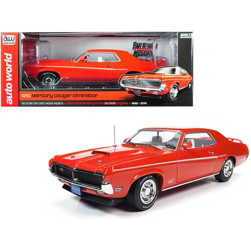 "1969 Mercury Cougar Eliminator Hardtop Competition Orange with White Stripes ""50th Anniversary of the Boss Engines"" (1969-2019) 1/18 Diecast Model Car by Autoworld"