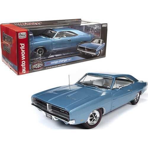 """1969 Dodge Charger R/T Hardtop B3 Light Blue Metallic with White Interior """"Muscle Car & Corvette Nationals"""" (MCACN) 1/18 Diecast Model Car by Autoworld"""