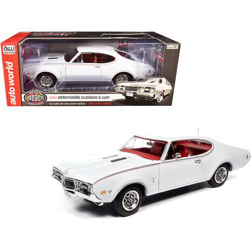 """1968 Oldsmobile Cutlass S W31 White with Red Interior """"Muscle Car & Corvette Nationals"""" (MCACN) 1/18 Diecast Model Car by Autoworld"""