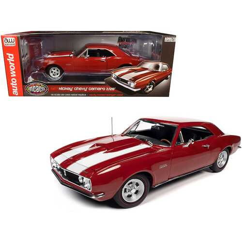 """1967 Chevrolet Camaro Z/28 Nickey Hardtop Bolero Red with White Stripes """"Muscle Car & Corvette Nationals"""" (MCACN) 1/18 Diecast Model Car by Autoworld"""