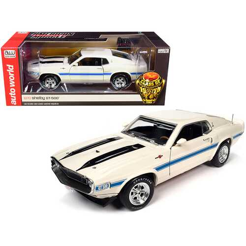 "1970 Shelby GT-500 428 Cobra Jet Wimbledon White with Blue and Black Stripes ""Class of 1970"" 1/18 Diecast Model Car by Autoworld"