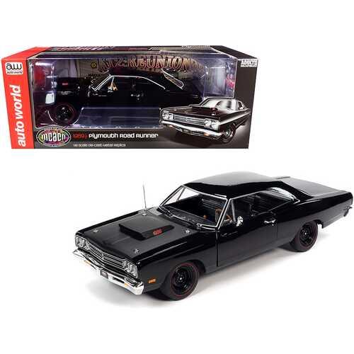 "1969/5 Plymouth Road Runner Hardtop Black Velvet with Matt Black Hood ""Muscle Car & Corvette Nationals"" (MCACN) 1/18 Diecast Model Car by Autoworld"