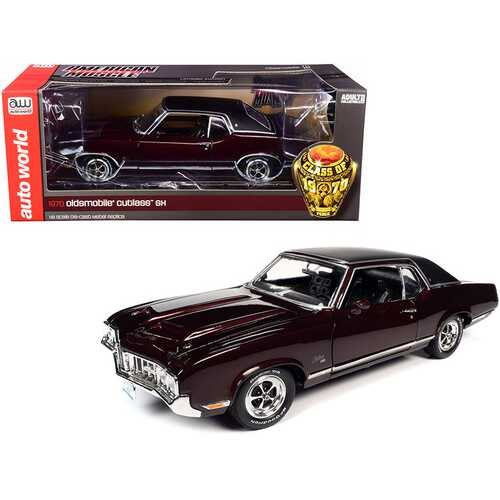 "1970 Oldsmobile Cutlass SX Burgundy Mist Metallic with Black Vinyl Top ""Class of 1970"" 1/18 Diecast Model Car by Autoworld"