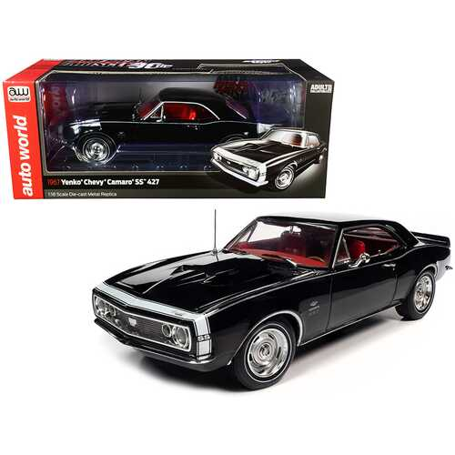 """1967 Chevrolet Camaro Yenko SS 427 Hardtop Tuxedo Black with Red Interior """"American Muscle 30th Anniversary"""" 1/18 Diecast Model Car by Autoworld"""