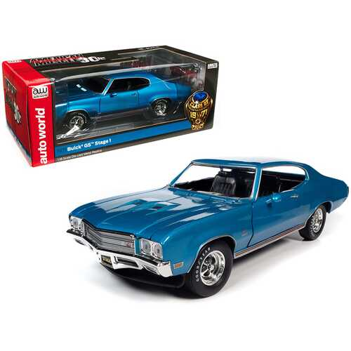 """1971 Buick Grand Sport GS Stage 1 Stratomist Blue Metallic """"Class of 1971"""" """"American Muscle 30th Anniversary"""" 1/18 Diecast Model Car by Autoworld"""