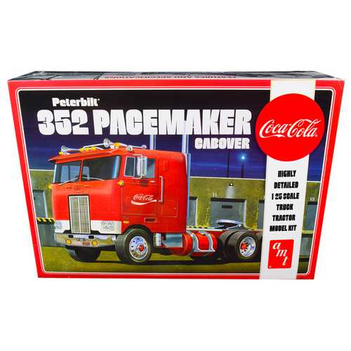 """Skill 3 Model Kit Peterbilt 352 Pacemaker Cabover Truck """"Coca-Cola"""" 1/25 Scale Model by AMT"""