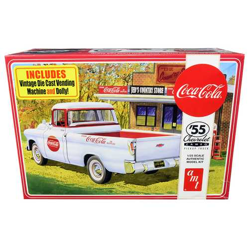 """Skill 3 Model Kit 1955 Chevrolet Cameo Pickup Truck """"Coca-Cola"""" with Vintage Vending Machine and Dolly 1/25 Scale Model by AMT"""