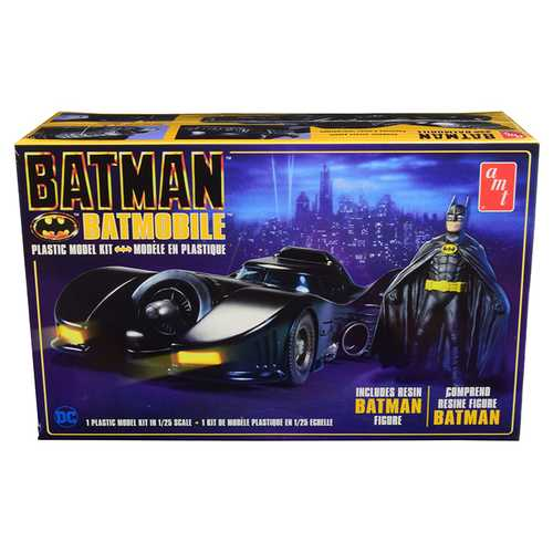 "Skill 2 Model Kit Batmobile with Resin Batman Figurine ""Batman"" (1989)  1/25 Scale Model by AMT"