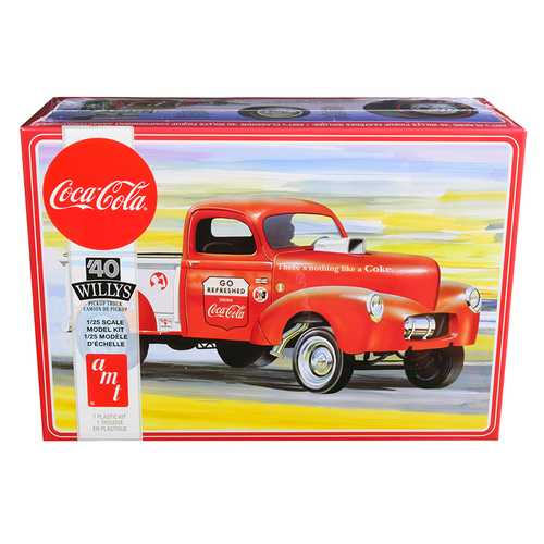 """Skill 3 Model Kit 1940 Willys Gasser Pickup Truck """"Coca-Cola"""" 1/25 Scale Model by AMT"""