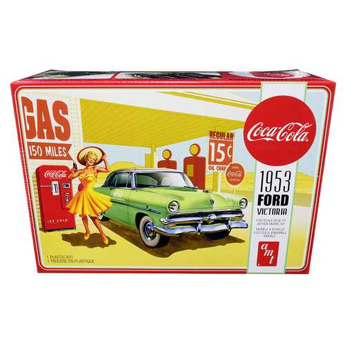"Skill 3 Model Kit 1953 Ford Victoria Hardtop with ""Coca-Cola"" Vending Machine 1/25 Scale Model by AMT"
