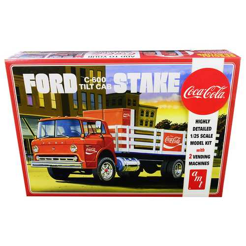 "Skill 3 Model Kit Ford C600 Stake Bed Truck with Two ""Coca-Cola"" Vending Machines 1/25 Scale Model by AMT"