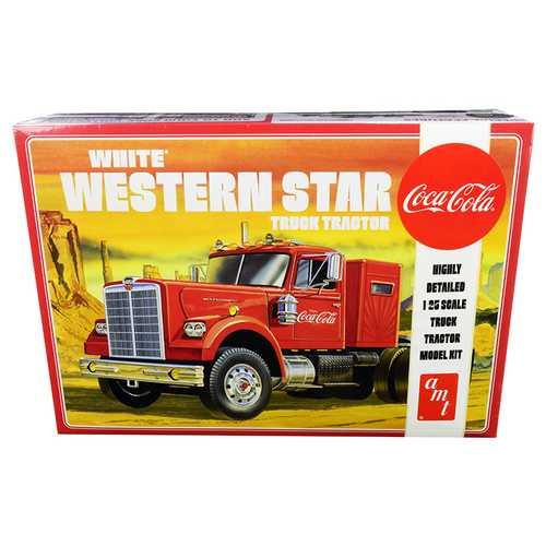 "Skill 3 Model Kit White Western Star Semi Truck Tractor ""Coca-Cola"" 1/25 Scale Model by AMT"