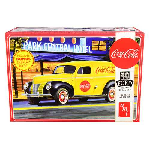 "Skill 3 Model Kit 1940 Ford Sedan Delivery Van ""Coca-Cola"" with Display Base 1/25 Scale Model by AMT"