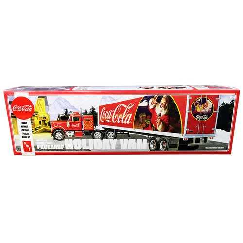 "Skill 3 Model Kit Fruehauf FB Beaded Holiday Hauler Semi Van Trailer ""Coca-Cola"" 1/25 Scale Model by AMT"