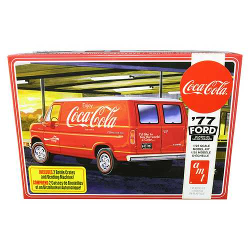 "Skill 3 Model Kit 1977 Ford Delivery Van with 2 Bottles Crates and Vending Machine ""Coca-Cola"" 1/25 Scale Model by AMT"
