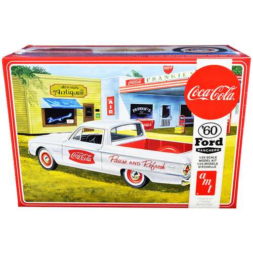 "Skill 3 Model Kit 1960 Ford Ranchero with Vintage Ice Chest and Two Bottle Crates ""Coca-Cola"" 1/25 Scale Model by AMT"