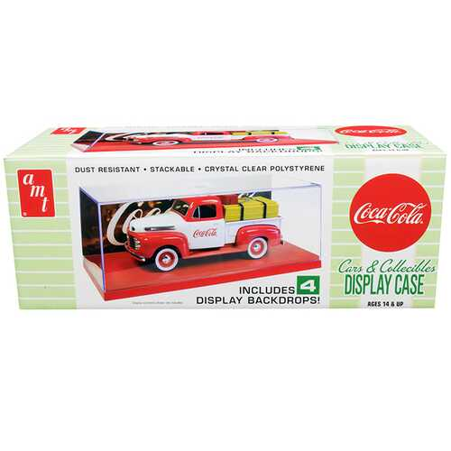 "Collectible Display Show Case with Red Display Base and 4 ""Coca-Cola"" Display Backdrops for 1/24-1/25 Scale Model Cars and Model Kits by AMT"