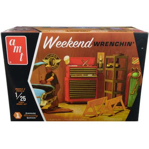 """Skill 2 Model Kit Garage Accessory Set #1 with Figurine """"Weekend Wrenchin'"""" 1/25 Scale Model by AMT"""