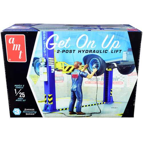 """Skill 2 Model Kit Garage Accessory Set #3 (2-Post Hydraulic Lift) with Figurine """"Get On Up"""" 1/25 Scale Model by AMT"""