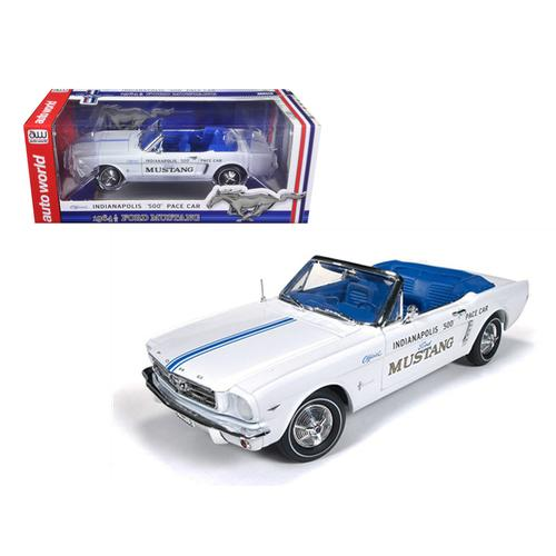 1964 1/2 Ford Mustang Convertible 289 V8 Indy 500 Pace Car Limited to 1500pc 1/18 Diecast Model Car by Autoworld