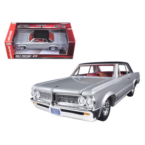 1964 Pontiac GTO Silvermist Grey with Gloss Black Roof 1/24 Diecast Model Car by Autoworld