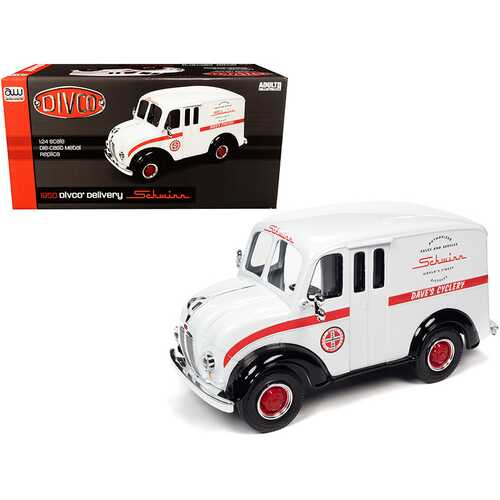 """1950 Divco Delivery Truck """"Schwinn"""" White with Red Stripe 1/24 Diecast Model Car by Autoworld"""