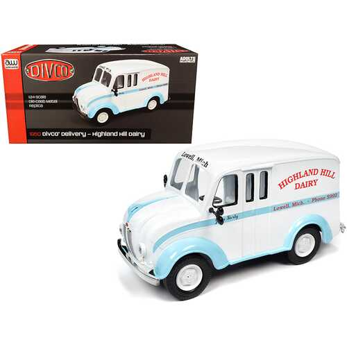 """1950 Divco Delivery Truck """"Highland Hill Dairy"""" White and Blue 1/24 Diecast Model Car by Autoworld"""