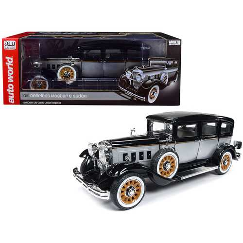 1931 Peerless Master 8 Sedan Black and Silver Limited Edition to 1,500 pieces Worldwide 1/18 Diecast Model Car by Autoworld