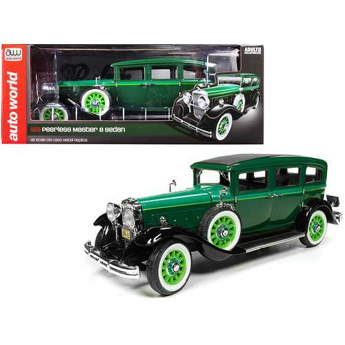 1931 Peerless Master 8 Sedan Dark Green with Light Green Hood 1/18 Diecast Model Car by Autoworld 1/18 Diecast Model Car by Autoworld